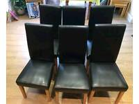 6 Black High Back Faux Leather Chairs FREE DELIVERY 694
