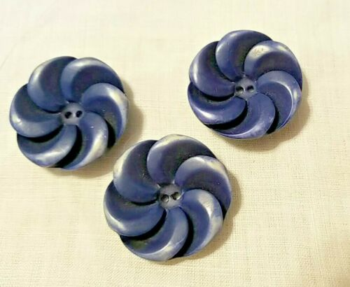 """3 VINTAGE BRUSHED CELLULOID FLOWER SHAPED 2-HOLE BUTTONS - 1 1/8"""" ACROSS"""