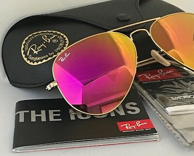 RAY BAN AVIATOR RB 3025 112/4T 58mm Pink (Rayban Mirrored Aviators)