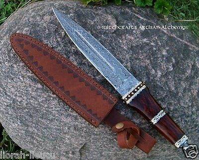 ARYA Dirk Wood Damascus Dagger Athame Ritual Knife with Goat Leather Sheath
