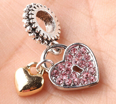 jewelry pink 925 silver charm beads pendant fit European bracelet necklace chain