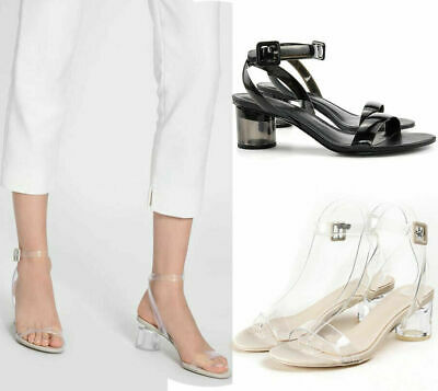 Womens Ladies Clear Low Mid Perspex Block Heel Ankle Strap Sandals Party Shoes](Clear Shoes Heels)