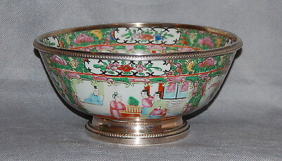 Chinese Export Porcelain Rose Medallion Bowl French Silver Mount at Rim Foot