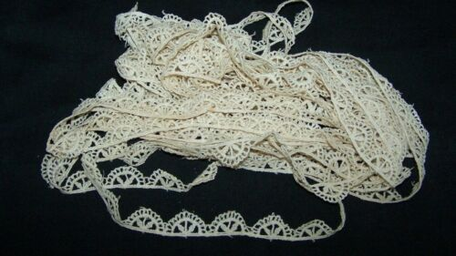 ANTIQUE WHITE COTTON LACE TRIM BORDER EDGING-9 YDS--SEW-ART-CRAFT-RESTORE