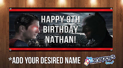 Personalized Superman Vs. Batman Birthday Vinyl Banner 4ft x2ft  with grommets](Vinyl Birthday Banners Personalized)
