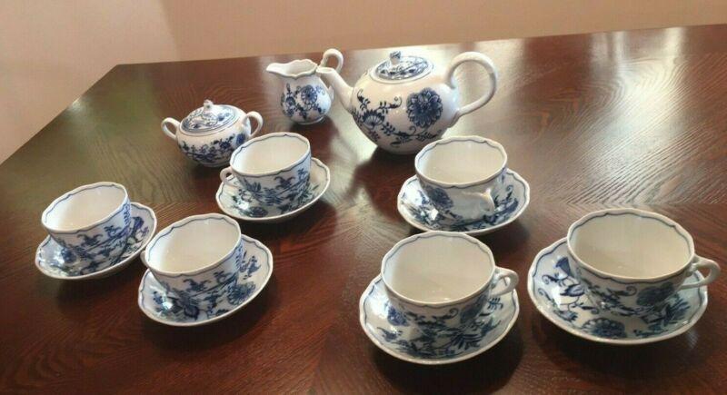 Blue Danube Onion Tea set, 6 cups, 6 saucers Tea Pot, Creamer and Sugar