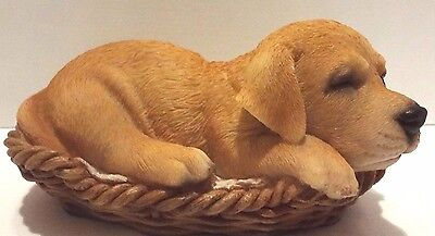 Wicker Basket Golden Labrador Puppy Dog- Life Like Figurine Statue Home/Garden