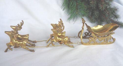 Brass Sleigh 4 Reindeer India Hand Crafted Polished 10708 NIB