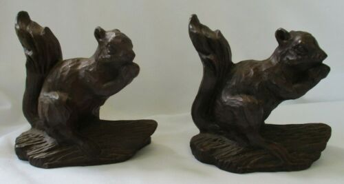 PAIR RED MILL SQUIRREL FIGURINES