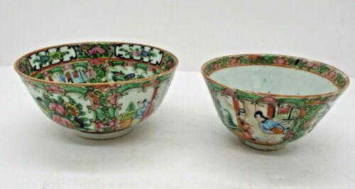 Two Vintage Chinese Hand Painted Rice Bowls