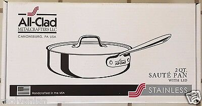ALL CLAD 4402 STAINLESS STEEL 2 QUART SAUTE PAN WITH LID BRAND NEW BEST (Best Stainless Steel Saute Pan)