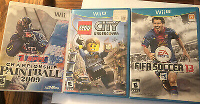 Wii U And Wii Game Lot - LEGO City Undercover - FIFA - Champ. Paintball