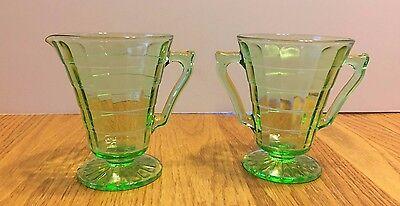 Vintage Green Depression Glass Footed Sugar Creamer Block Optic Pattern ~ VGC