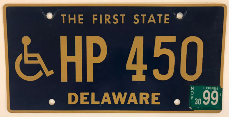 1999 Delaware Handicap LOW 3 digit license plate DE HP 450 Wheelchair Disabled