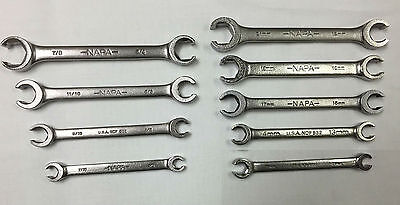 Napa 9 Pc  Sae   Metric Flare Nut Wrench Set Made In Usa Fast N Free Shipping