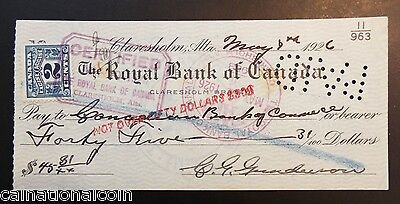 The Royal Bank Of Canada Claresholm  Alberta Bank Check 1926