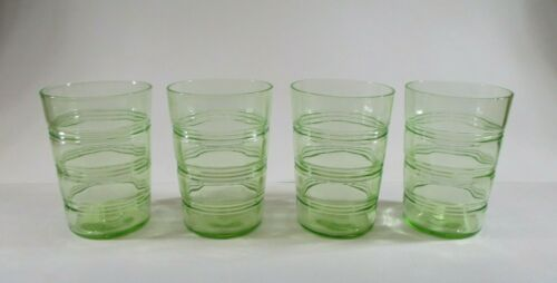 Hocking Glass Ring Pattern Set of 4 Tumblers 4-inch Green Banded Rings 1927-1933