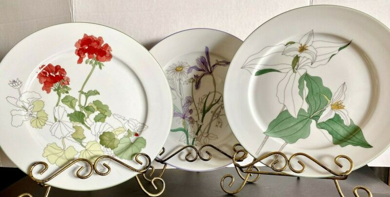Vintage Block Spal 3 Watercolors Dinner Plates by MaryLou Goertzen Portugal 1981
