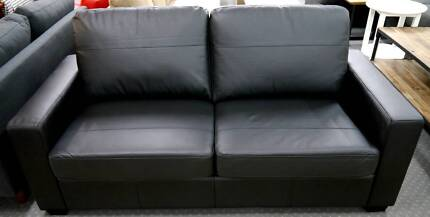 New Black Leather Sofas Suite Beds Inner Spring Fold Out Mattress