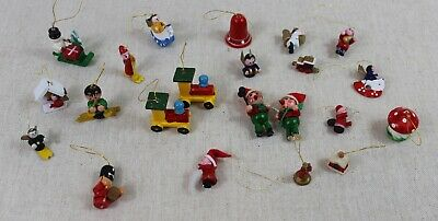 Vintage Mini Christmas Ornaments Small Miniature Santa Tree Train Set of 22