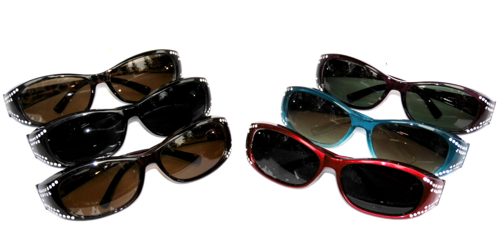 Figuretta Sonnen Überbrille UV400 Polarisiert Strass für Brillenträger Polbrille