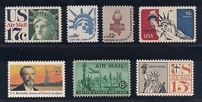 Statue Of Liberty   Set Of 7 Different U S  Postage Stamps   Mint Condition