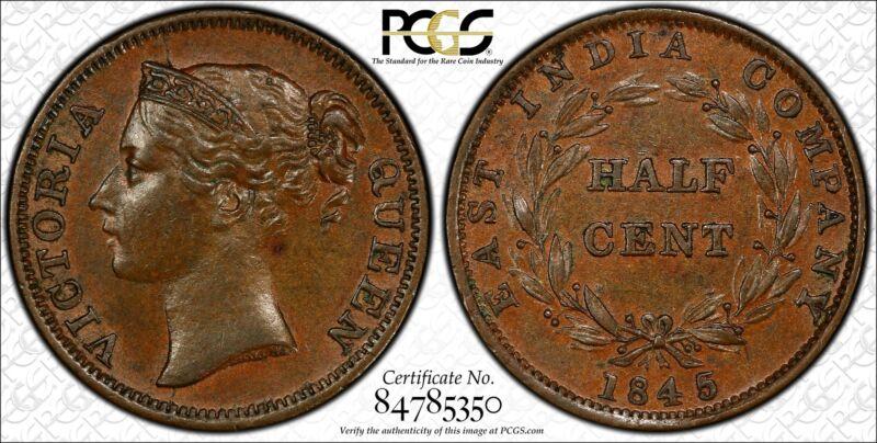 Straits Settlements 1/2 Cent 1845 MS62 BN PCGS KM#2 WW POP 3/5 Scare Victoria