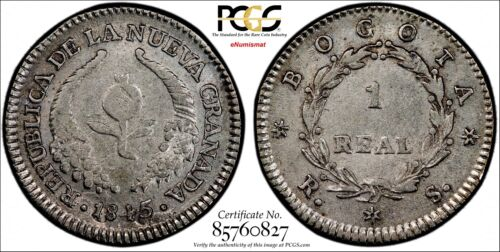 Colombia Silver 1845-RS 1 Real PCGS AU53 Ex.Eldorado Collect.TOP GRADED KM# 91.1