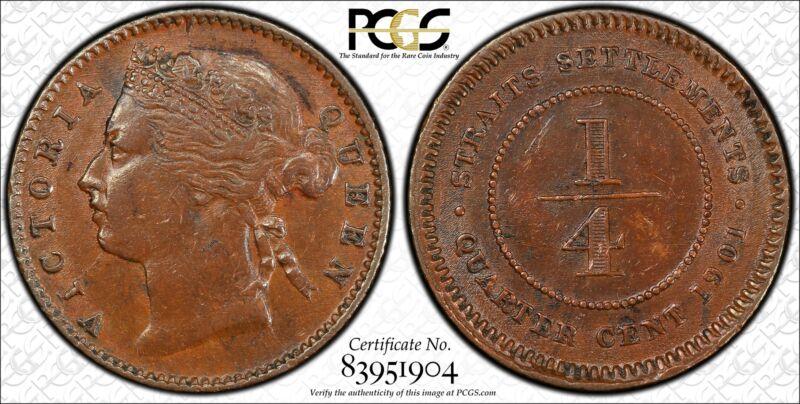 Straits Settlements 1/4 Cent 1901 AU55 PCGS KM#14 Victoria 1/4C Singapore