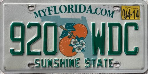 Florida Sunshine State American License Licence USA Number Plate Tag 920 WDC