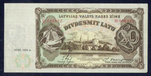 20 lats Latvia 1935 -D 086982 aUNC/UNC