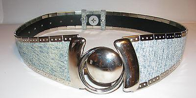 Denim Metallic Belt (UNUSUAL RETRO LOOK DENIM & SILVER METAL DECOR BELT -)