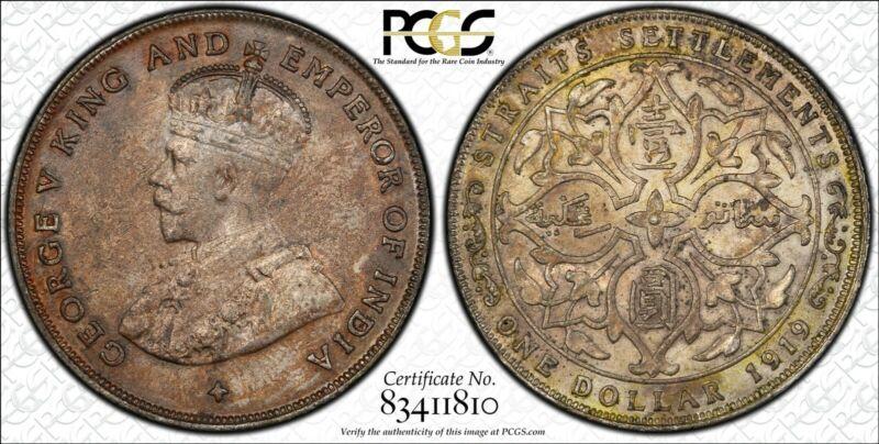1919 Straits Settlements 1 Dollar World Silver Coin PCGS AU Details - George V