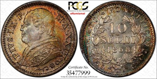 Italian States PAPAL STATES Pius IX YearXXIII 1868-R 10 Soldi PCGS MS65 KM1386.2