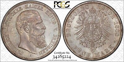 1888-A Germany Prussia 5 Mark PCGS MS64