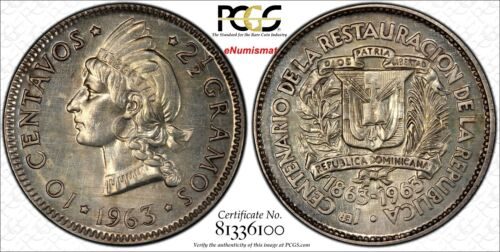 Dominican Republic 1963 10 Centavos PCGS SP63 8 examples known KM# 27 ex King