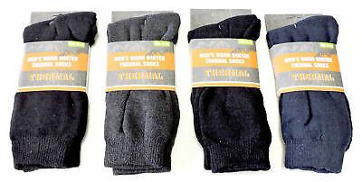Cotton Rich Thermal (4 Pair Mens Warm Thermal Socks Cotton Rich Size 10-13 Cushioned Heel & Sole )