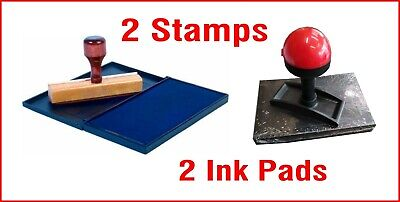 Rubber Wooden Stamp W Ink Pad No Self Inking Logo Mechanic Garage 2 Stamps
