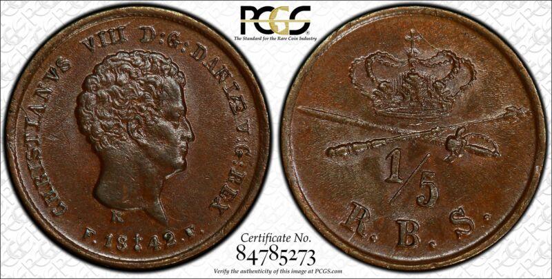 Denmark 1/5 Rigsbankskilling 1842 CH BU+ BN copper KM#724 FINEST POP 1/0