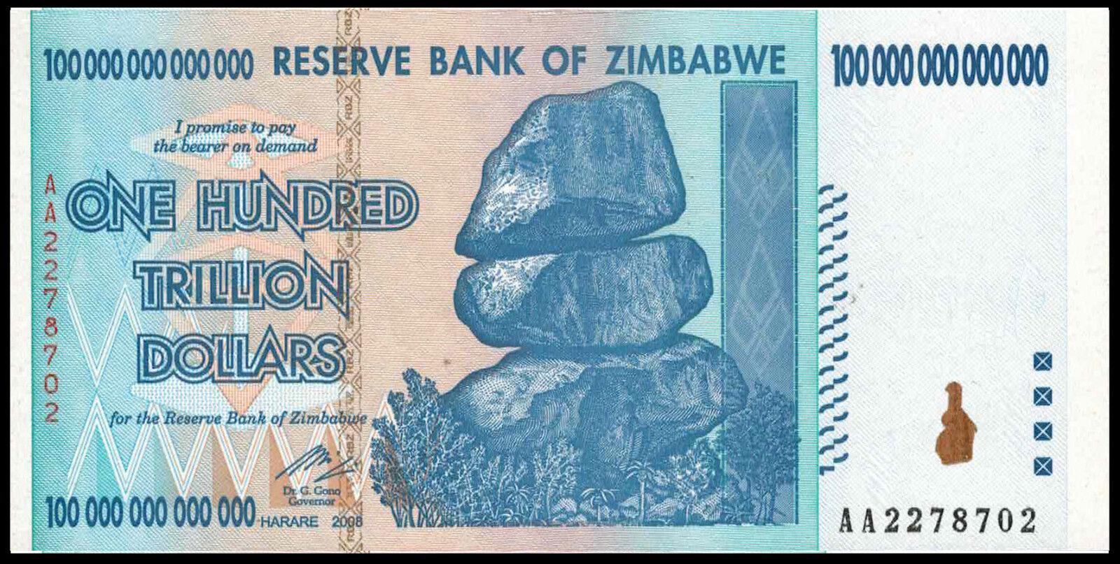 Купить Zimbabwe 100 Trillion Dollars 2008 AA P.91, Guaranteed authentic Unc