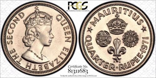 British Africa Mauritius 1971 1/4 Rupee SPECIMEN PCGS SP-67 TOP GRADED KM# 36