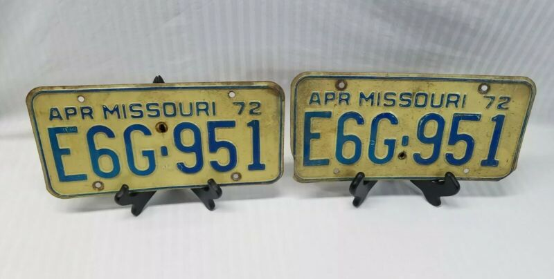 "Vintage 1972 Matched Set Of Missouri License Plates ""Show Me State"""