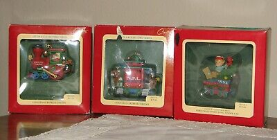 NEW Carlton Cards Christmas Train Set, 6 pcs in orig. boxes, displayed few times