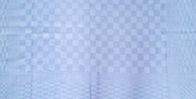 Fine Linen Tablecloth French Checked Provencal - Cornflower Blue Damask