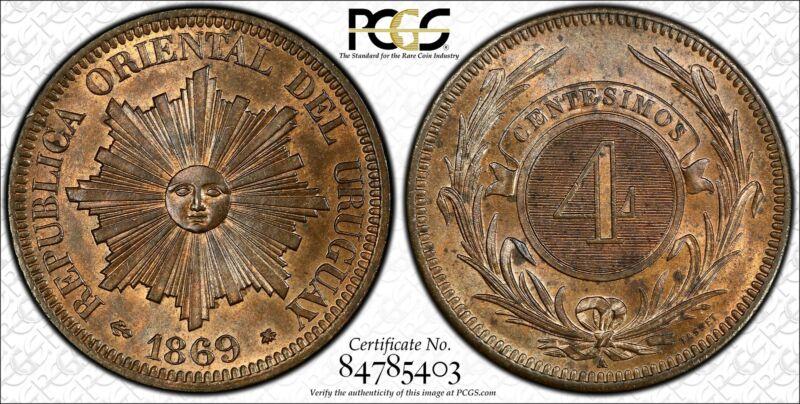Uruguay 4 Centesimos 1869 A MS64+ RB PCGS KM#13 2ND FINEST POP 1/1 - VERY SCARCE