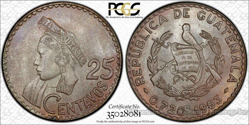 Guatemala 25 Centavos 1963 MS66+ PCGS silver KM#263 Colorfully Toned PQ GEM
