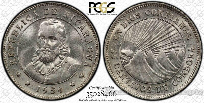 Nicaragua 25 Centavos 1954 MS66 PCGS KM#18.1 Finest Pop 1/0 Ultra Gem