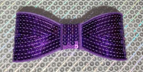 "XL 5"" Sequin Bow embellishment for boutique crafts DARK PURPLE"