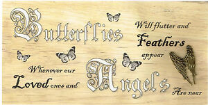 wooden plaques shabby Chic handmade signs gifts love friends  Butterflies Angels
