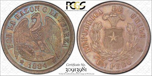 1884 Chile Peso PCGS MS64 silver Conditionally RARE ngc reales Santiago republic